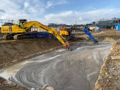 yelllow and blue digger working in farnborough