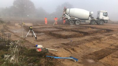 mixer on site in Charvil for Hicks Development