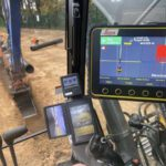GPS being used to dig out trench ready for drainage
