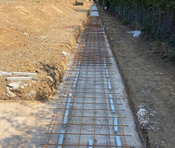 Footings dug, concrete blinding with steel mesh