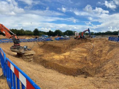 Large excavation ready for a storm water attenuation tank
