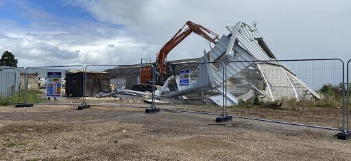 Demolition phase of existing buildings